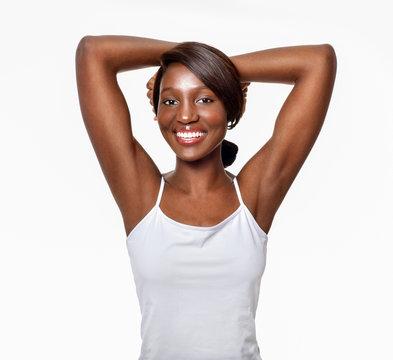 Beautiful  African-American woman. Black Beauty. Armpit's care.