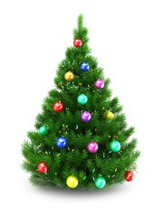 3d illustration of green Christmas tree over white background with lights and colorful balls