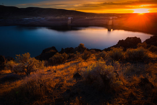 Lucky Peak Lake Dam at Sunset