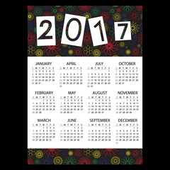 2017 simple business wall calendar with outline color floral pattern eps10