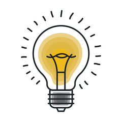 Light bulb draw icon. Energy power technology and electricity theme. Isolated design. Vector illustration