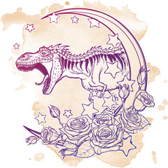 Detailed sketch style drawing of the roaring tyrannosaurus rex on Kawaii Moon and roses frame. Tattoo design. Concept art. Grunge background. EPS10 vector illustration isolated on white background.