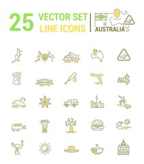Vector graphic set. Silhouette, logo, icon. Australian continent. Linear, flat, contour, thin. App, Web site template. Concept Australian culture, animals, traditions. Sign, element, emblem, symbol.