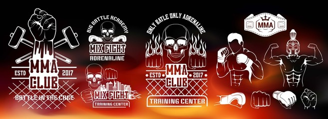 Set for MMA. Silhouette, logo, emblem, l?bel, element, the icon for the mix of martial arts. Battle, shows, training center, the boxing club to train fighter.