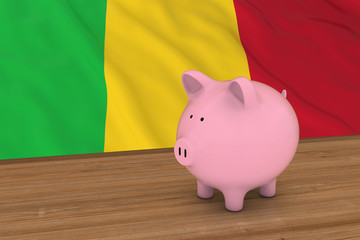 Mali Finance Concept - Piggybank in front of Malian Flag 3D Illustration