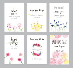 Hand drawn vector save the date set, watercolor invitation template with flower.vector illustration