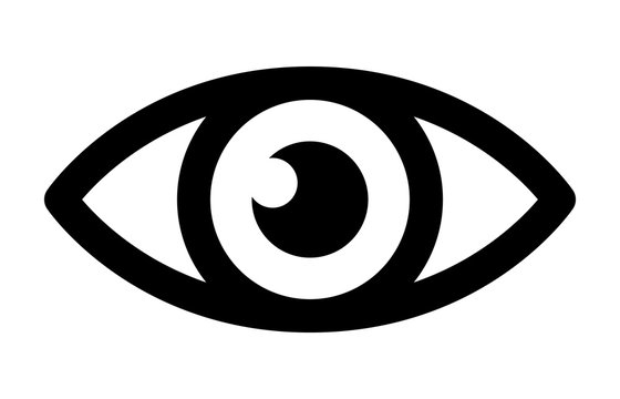Eye retina scan or optometry eye exam line art icon for medical apps and websites