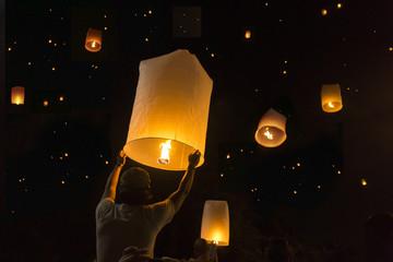 Loy Krathong Festival Balloon fire or yeepeng Thailand