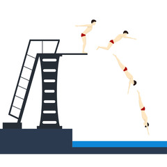 Diving into Pool Phases Jumping. Vector