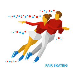 Winter sports - Pair Figure Skating. Cartoon skating man and woman training. Ice show. Flat style vector clip art isolated on white background.