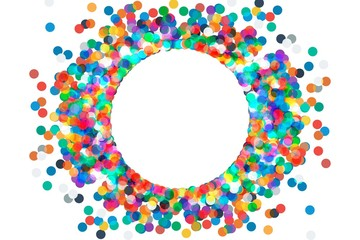 round frame with confetti