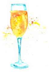 Watercolor drawing of sparkling wine in flute glass on white