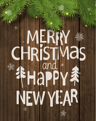 Christmas and New Year Holiday Greeting Card.