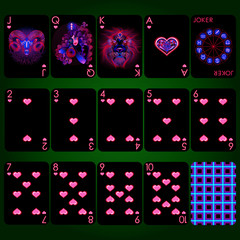 "Playing cards series ""Neon Zodiac signs"". Heart suit playing cards full set. Background black card."