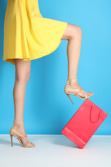 Super sale, shopping, discount, fashion concept:  woman with  shopping bag
