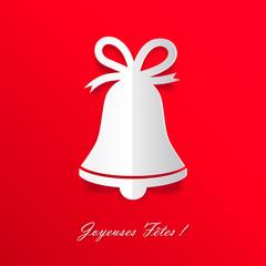 Joyeuses Fêtes ! Cloche en papier sur fond rouge
