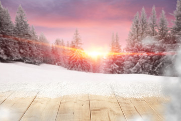 wooden desk and sky of pink color