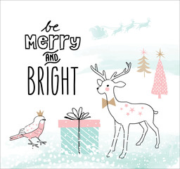 Hand drawn Christmas card with cute little deer and bird