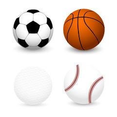 Sports Balls Set. Football, Basketball, Baseball, Golf ball
