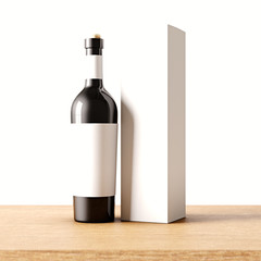 Closeup one not transparent black glass bottle of wine on the wooden desk, white wall background.Empty glassy container concept with gray mockup label and carton paper bag for bottles.3d rendering.