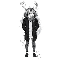 Deer with the human body in a warm jacket. Vector illustration for greeting card, poster, or print on clothes. Fashion & Style. Hipster.