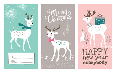Set of Christmas cards with lovely deers