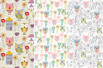 Vector set. Seamless pattern with owls
