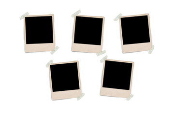 blank polaroid photo frames and empty space for your photograph and picture isolated on white background