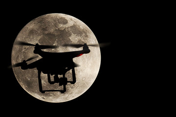 Silhouettes of drones and super moon, Full moon