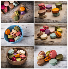 Colorful cakes collage. Macarons