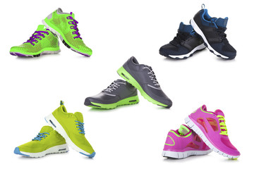 Sport shoes set with several different  shoes