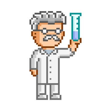Vector 8-bit pixel art scientist
