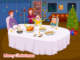 Happy family enjoying meal at dinner table celebrating Merry Christmas holiday