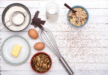 Flour, sugar, butter, oats, eggs, chocolate  walnuts