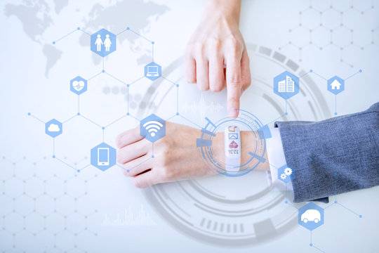white smart watch and connection to various devices, wearable device, IoT(Internet of Things