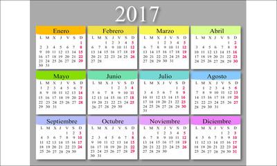 Spanish calendar template 2017
