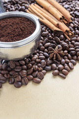 coffee beans on brown paper background, over light