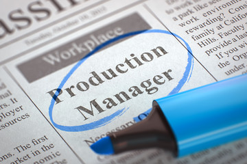 Job Opening Production Manager. 3D.