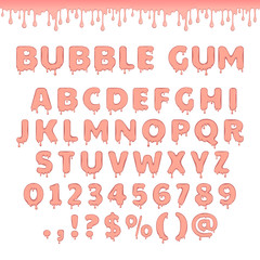 Set of bubble gum letters