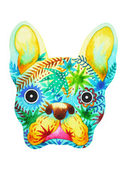french bulldog sugar skull, frenchie cute dog day of the dead, watercolor painting hand drawn design