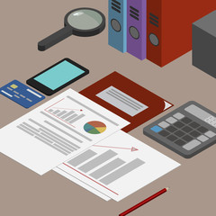 Auditor workplace, accounting documents, the analysis of these reports, the analyst. Desktop isometrics