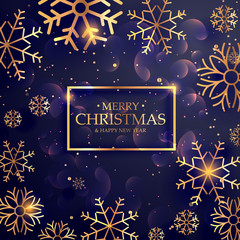 beautiful purple background with golden snowflakes for merry chr