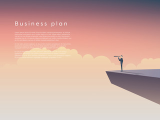 Businessman standing on a cliff above clouds with monocular. Business concept of leadership, plan, space for your text.