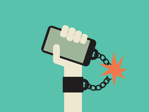 Break free from smartphone and technology addiction vector concept. Hand with mobile phone chained to it.