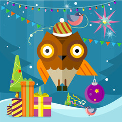 Owl with Christmas Ball on New Year Background