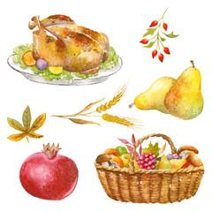 Autumn Thanksgiving watercolor clipart