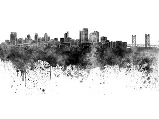 Fotomurales - Sacramento skyline in black watercolor on white background