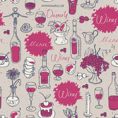 seamless texture background on the topic of wine with cutlery and kitchenware