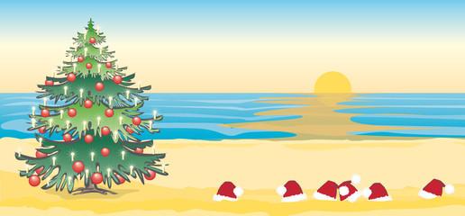 Vektor Illustration Weihnachten ohne Schnee am Strand im Süden Südhalbkugel Dezember