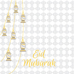 Eid Mubarak greeting banner background with the traditional greeting. English: blessed holiday